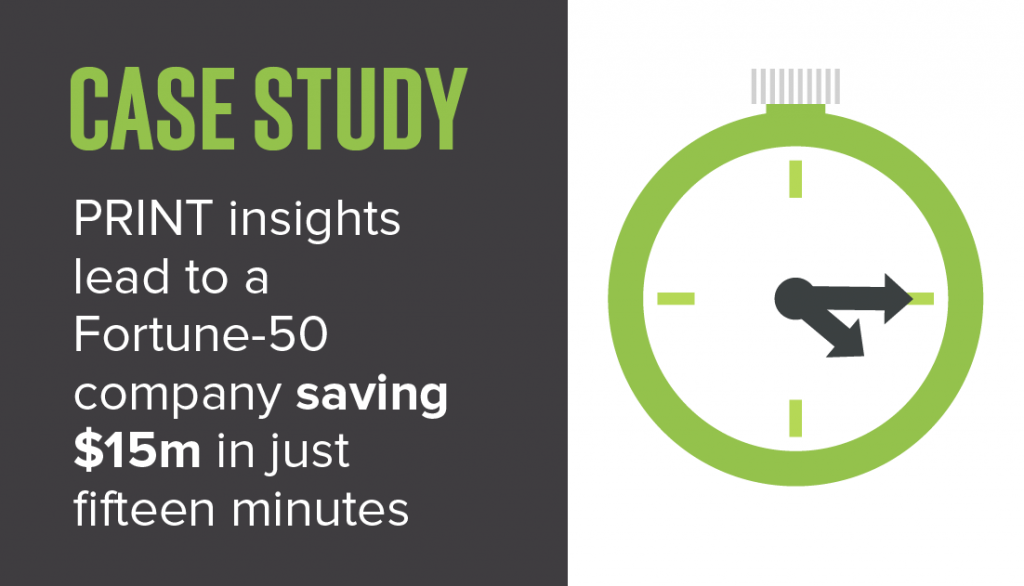PRINT insights lead to a Fortune-50 company saving $15m in just fifteen minutes