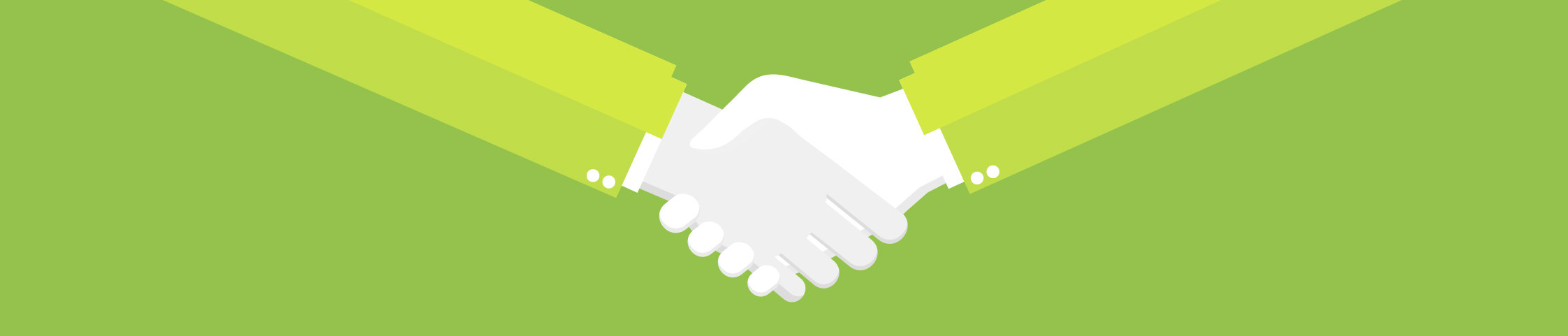 Handshake implying collaboration between brand teams